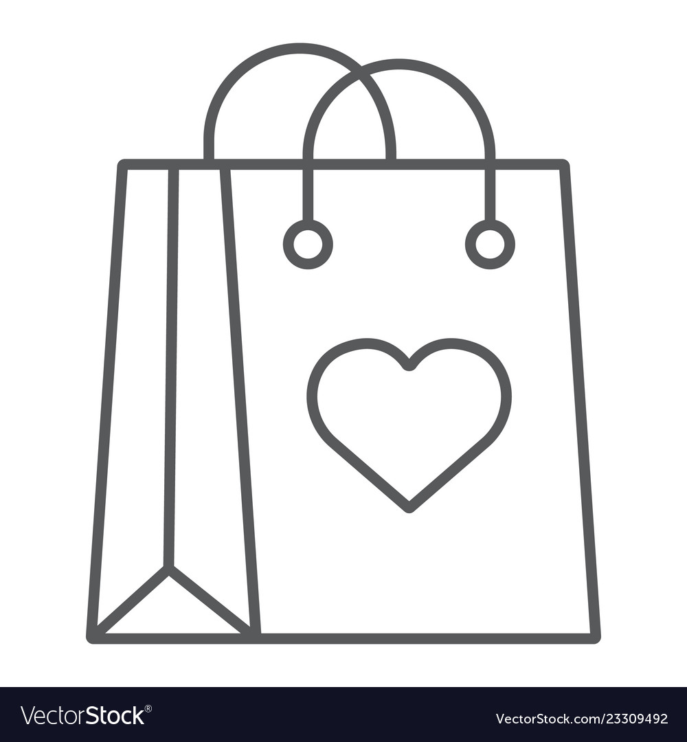 Shopping bag with heart thin line icon love and
