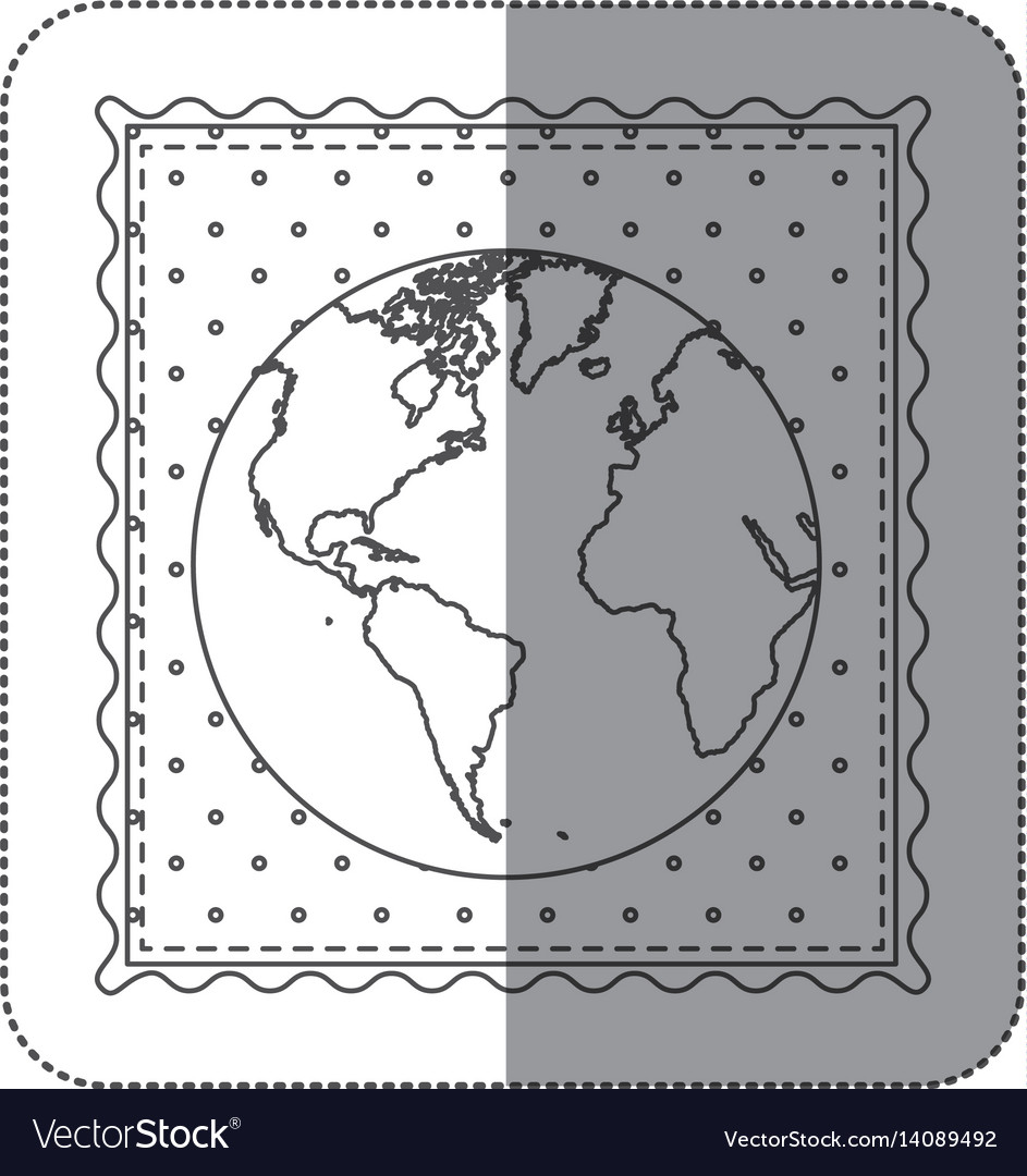 Sticker contour frame of world map with background