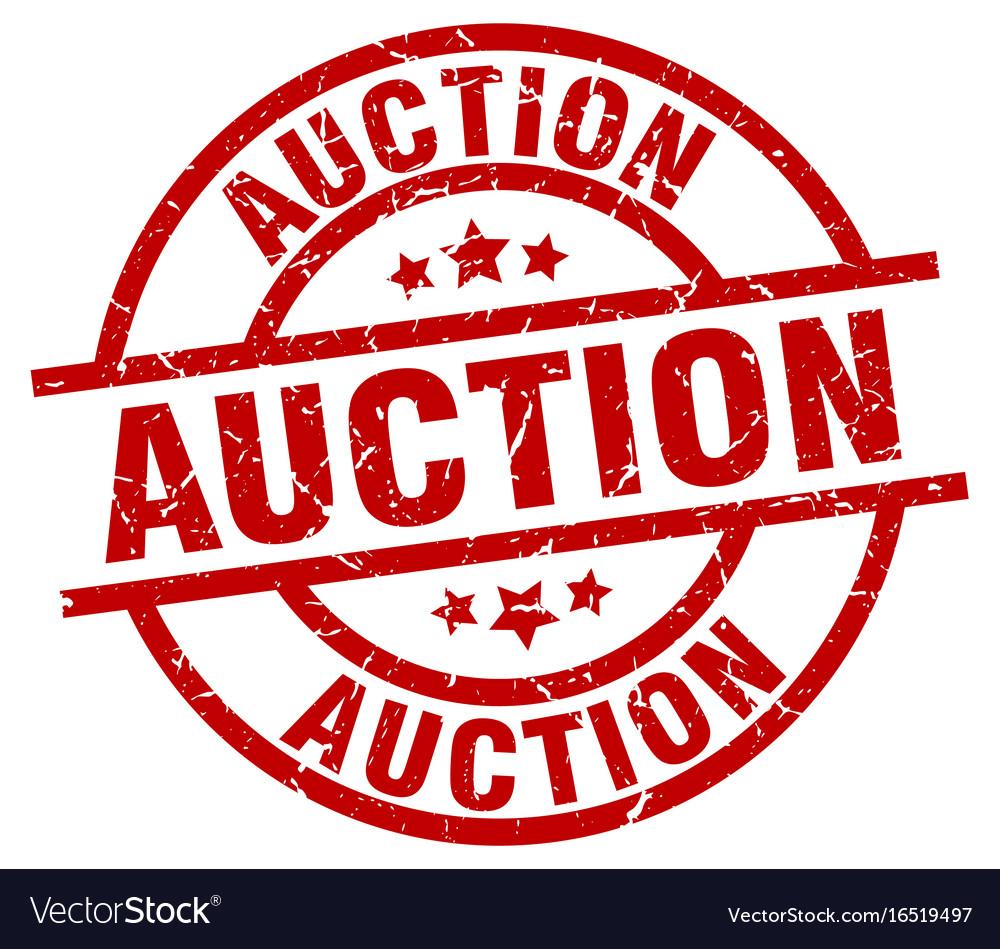 Auction round red grunge stamp