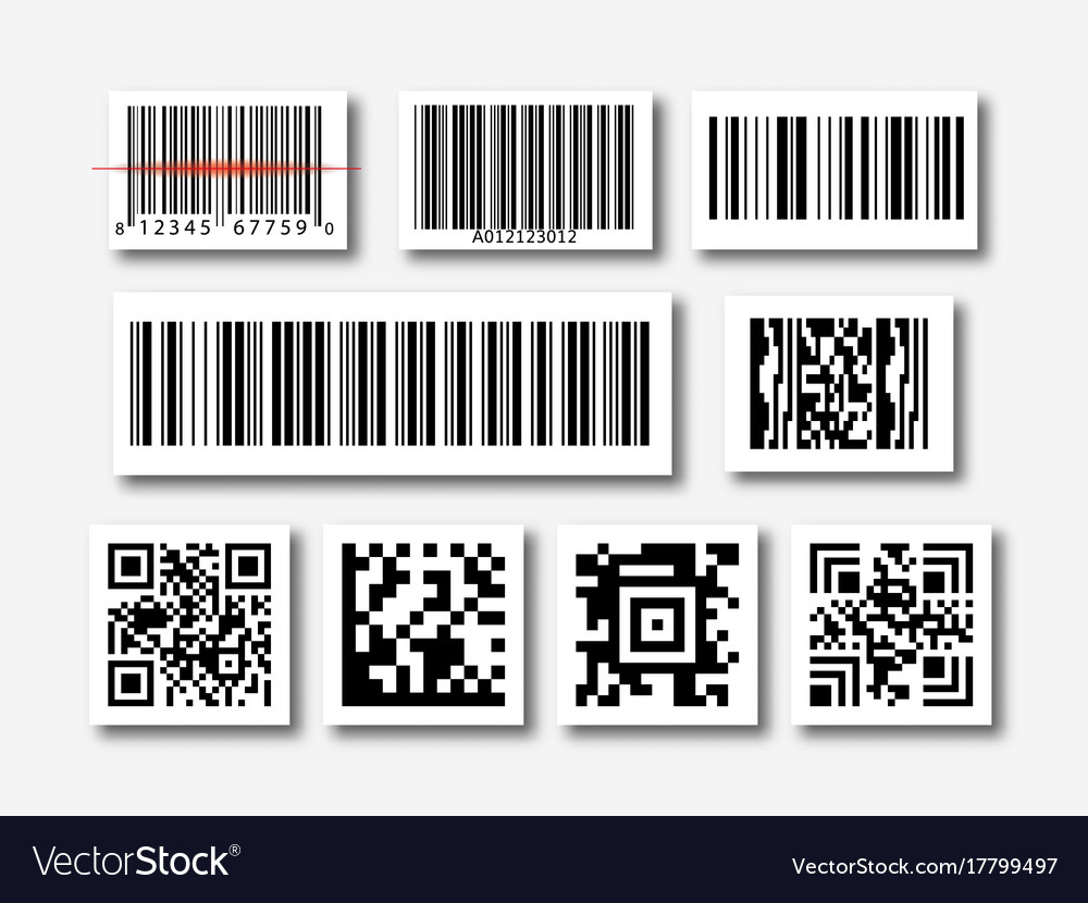 bar and qr code sticker set royalty free vector image