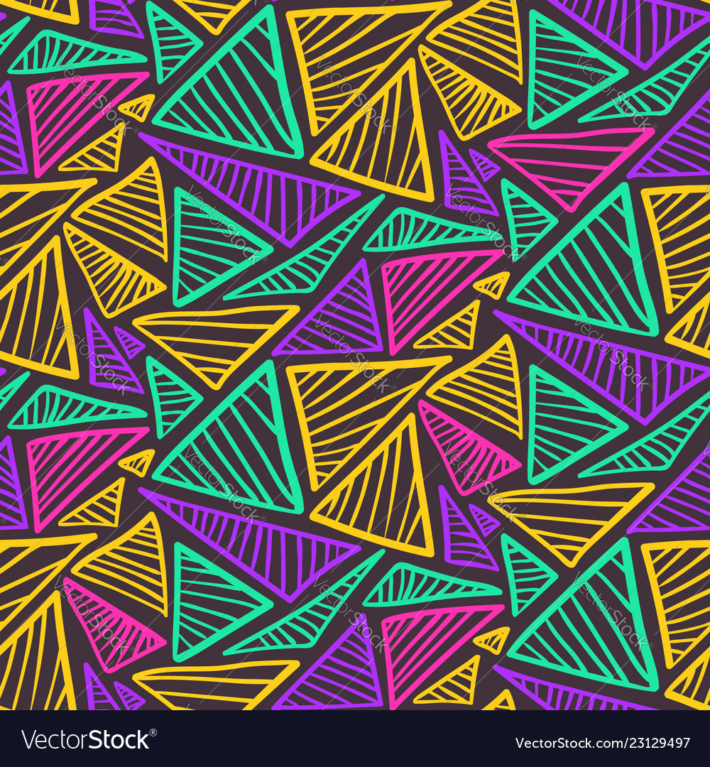 Contrast seamless pattern with colorful triangles
