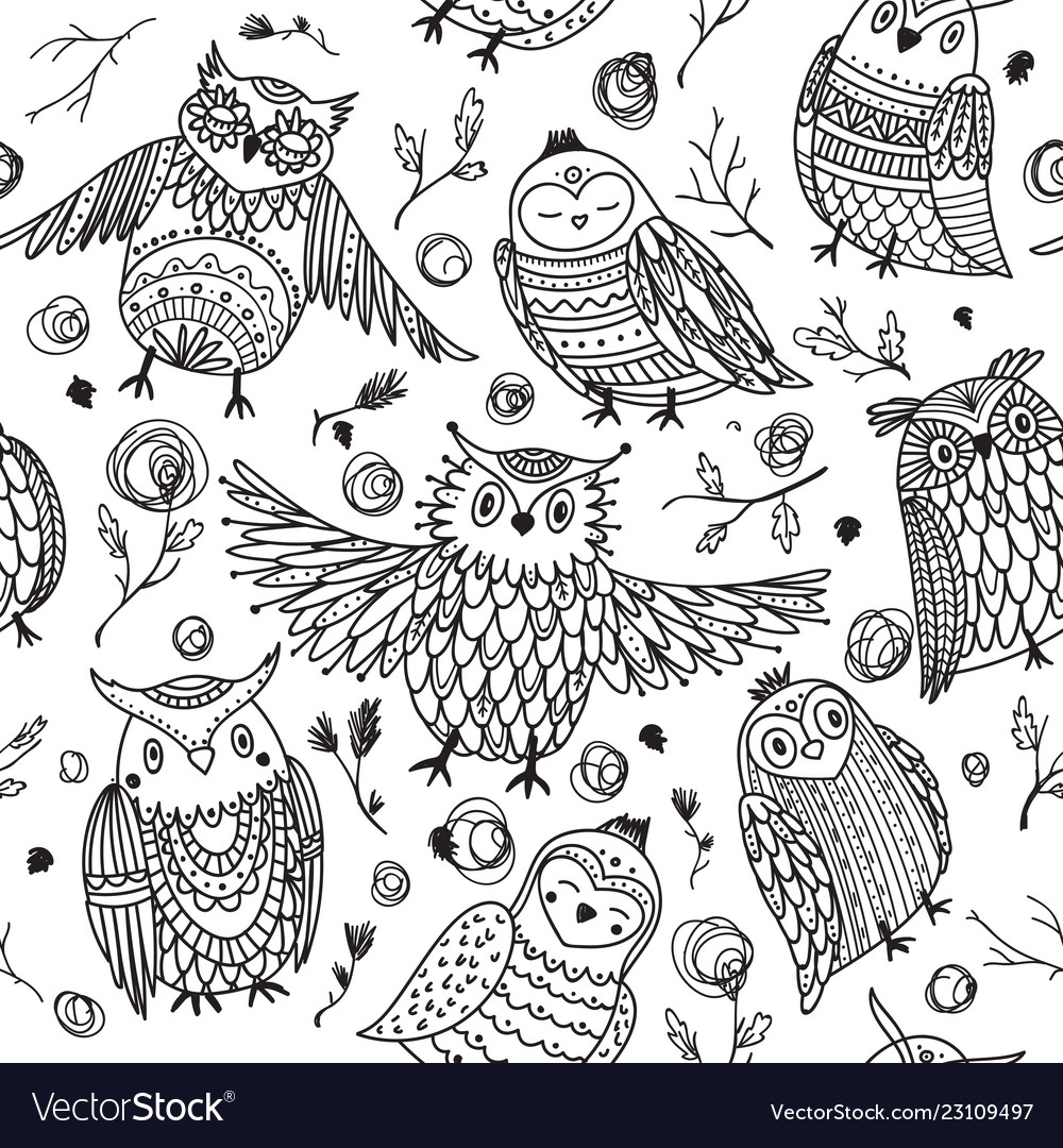 Cute owls seamless pattern in boho style