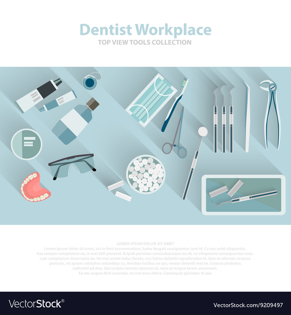 Dental care equipment symbols Teeth dentistry