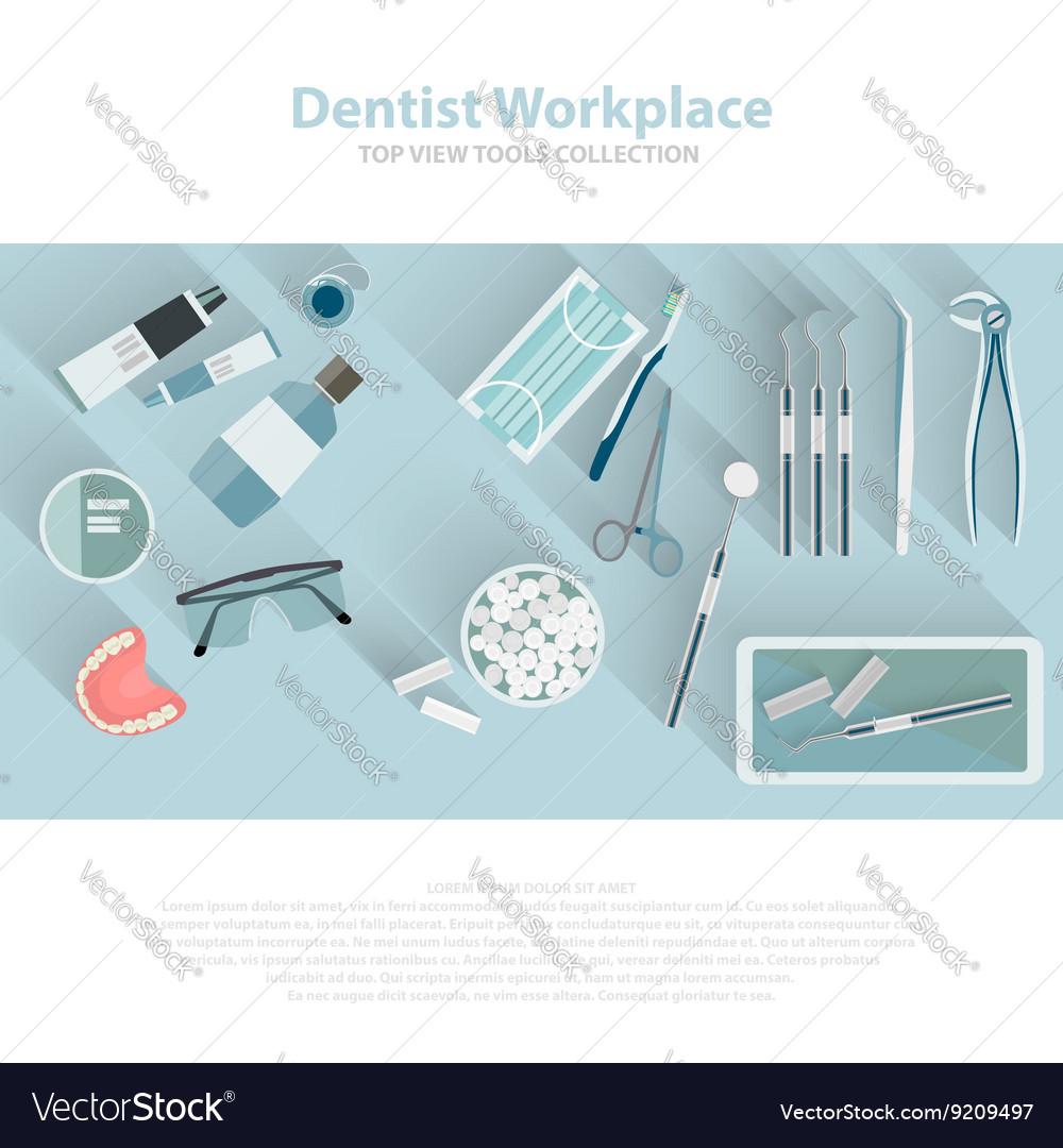 Dental care equipment symbols Teeth dentistry vector image