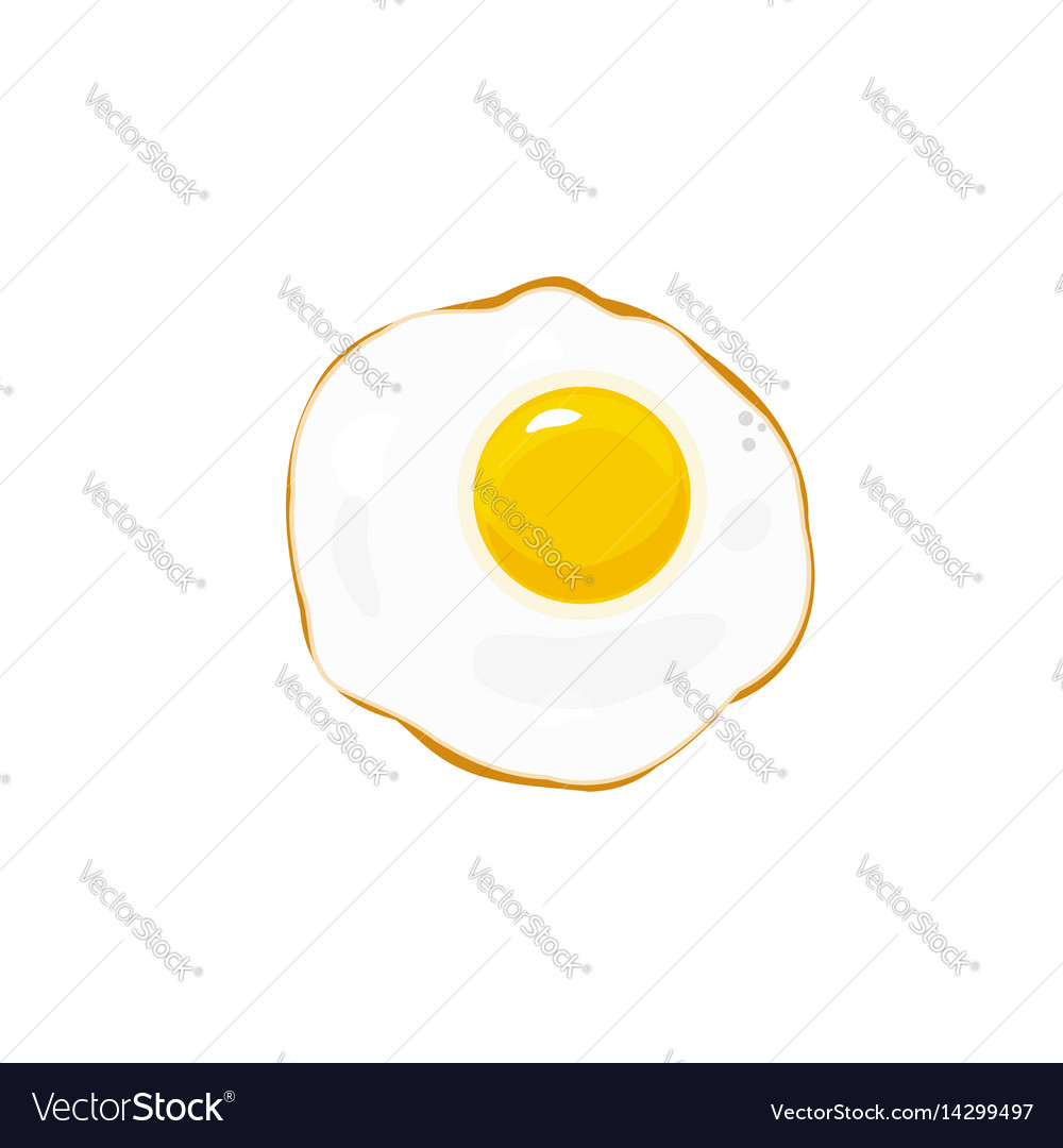 Egg fried icon isolated on white flat vector image