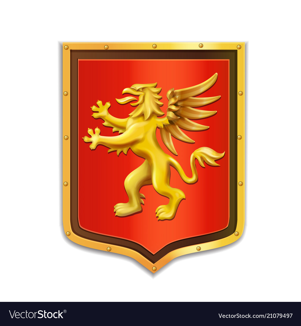 Griffin heraldry coat arms golden shield