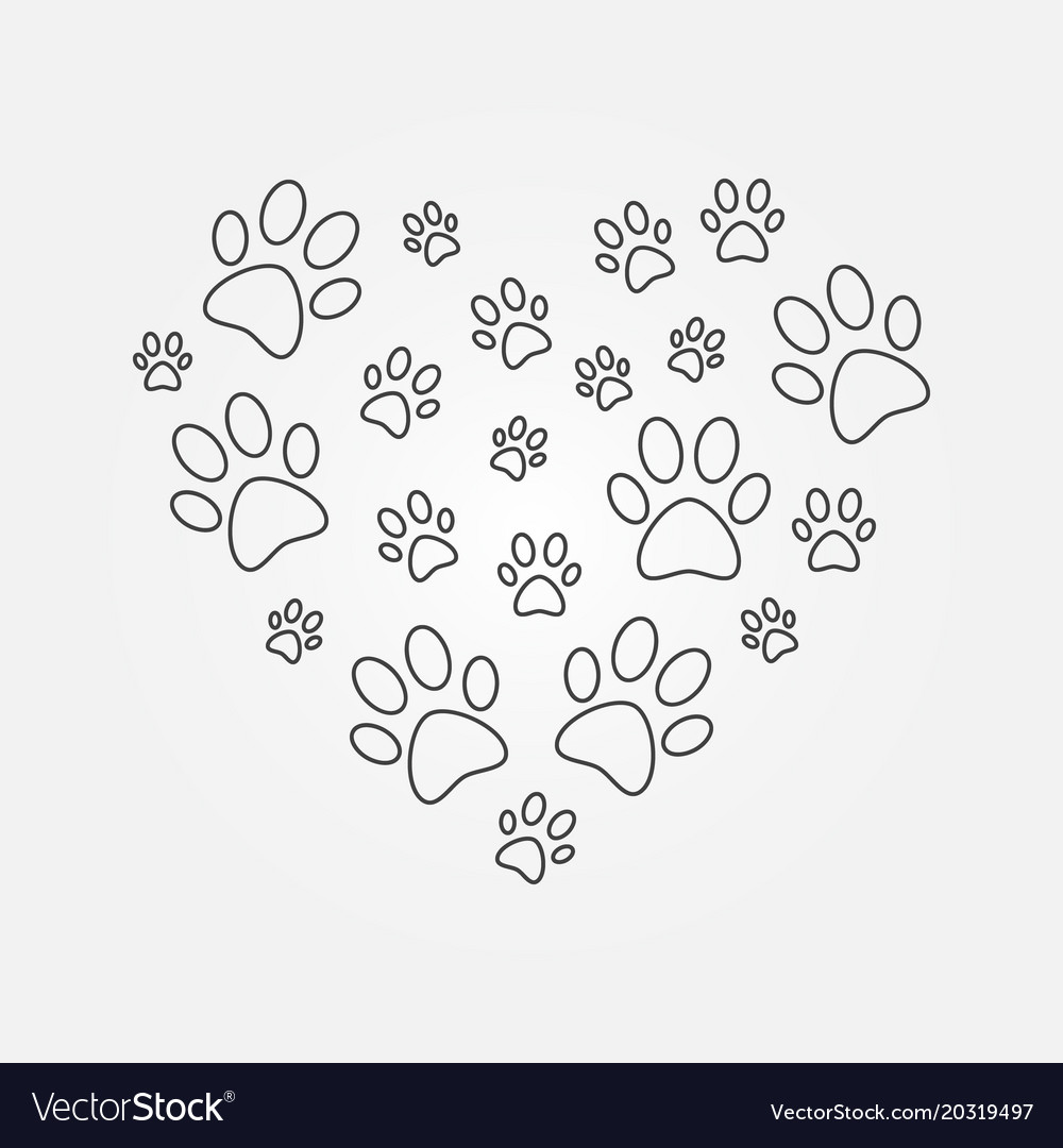 Heart With Dog Paw Prints Outline