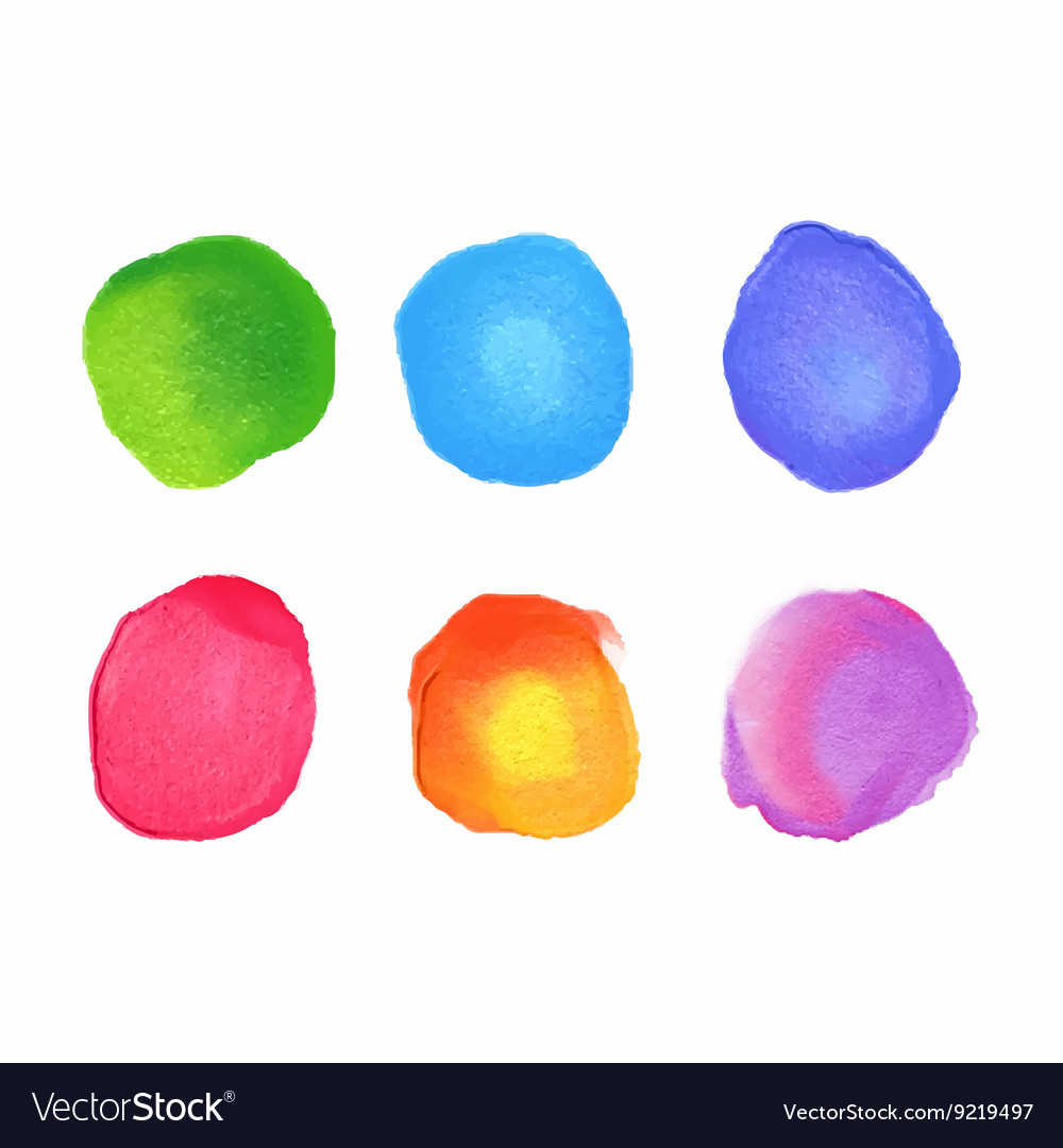 Set of rainbow watercolor circles stains