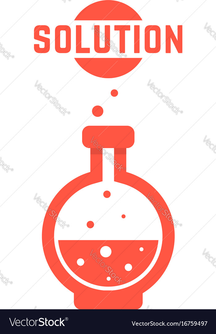 Solution with red lab bottle
