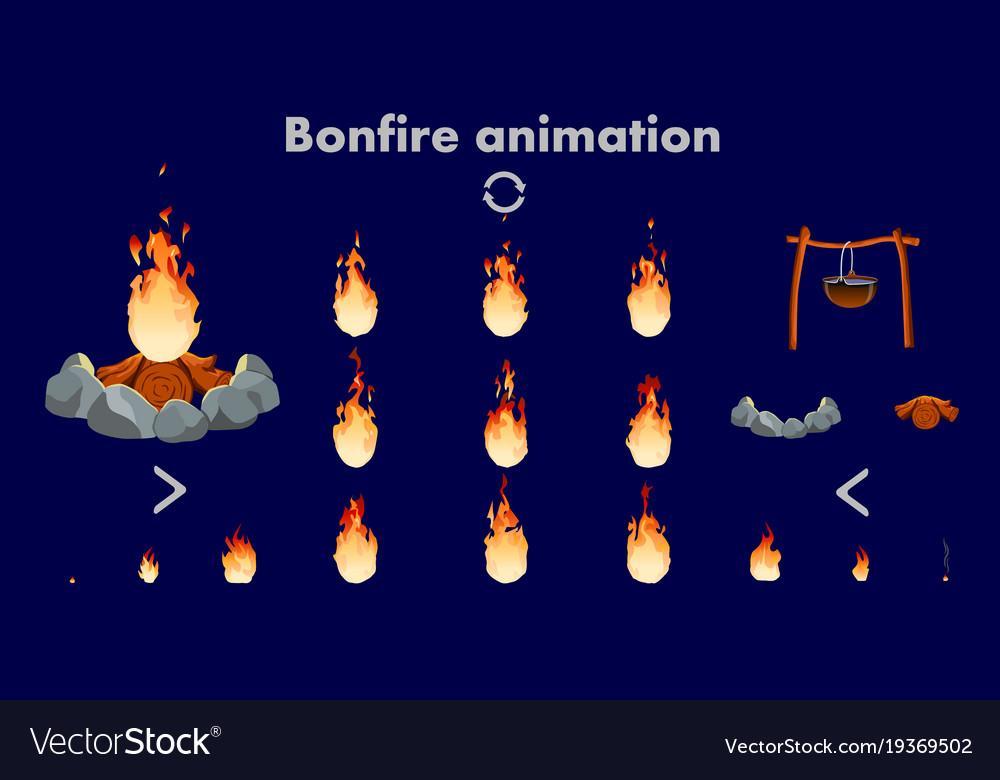 Bonfire animation sprites flame