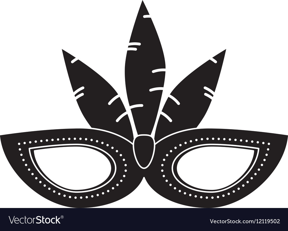 brazil carnival mask feathers pictogram royalty free vector