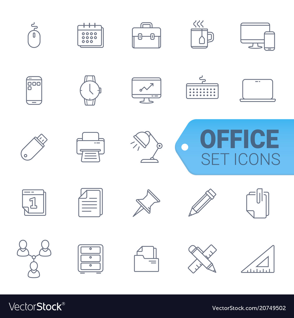 Bussines and officeblue line of icons set