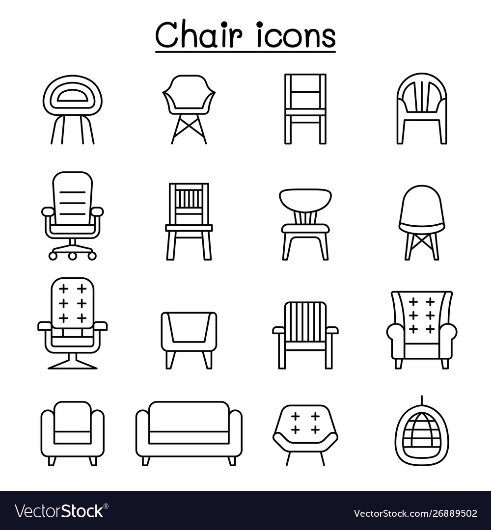 Chair and sofa front view icon set in thin