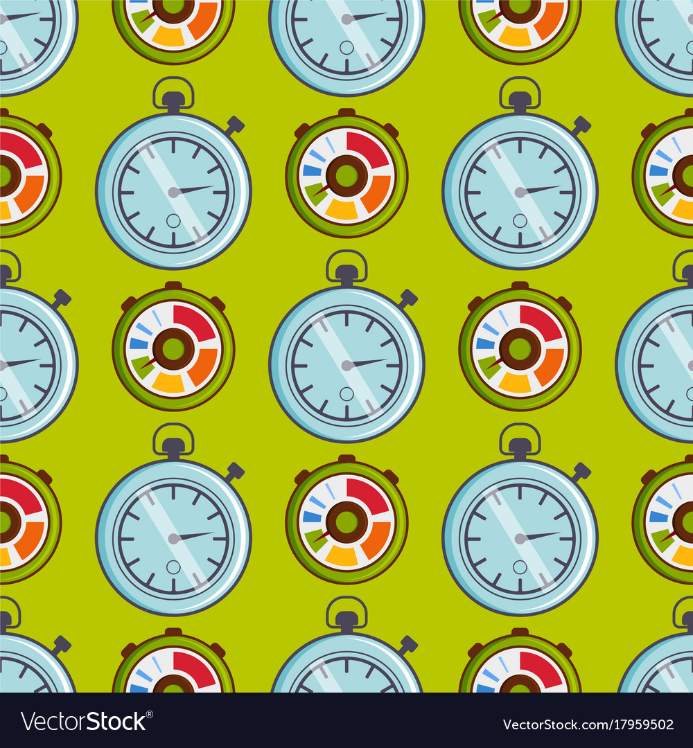 Clock watches timer seamless pattern