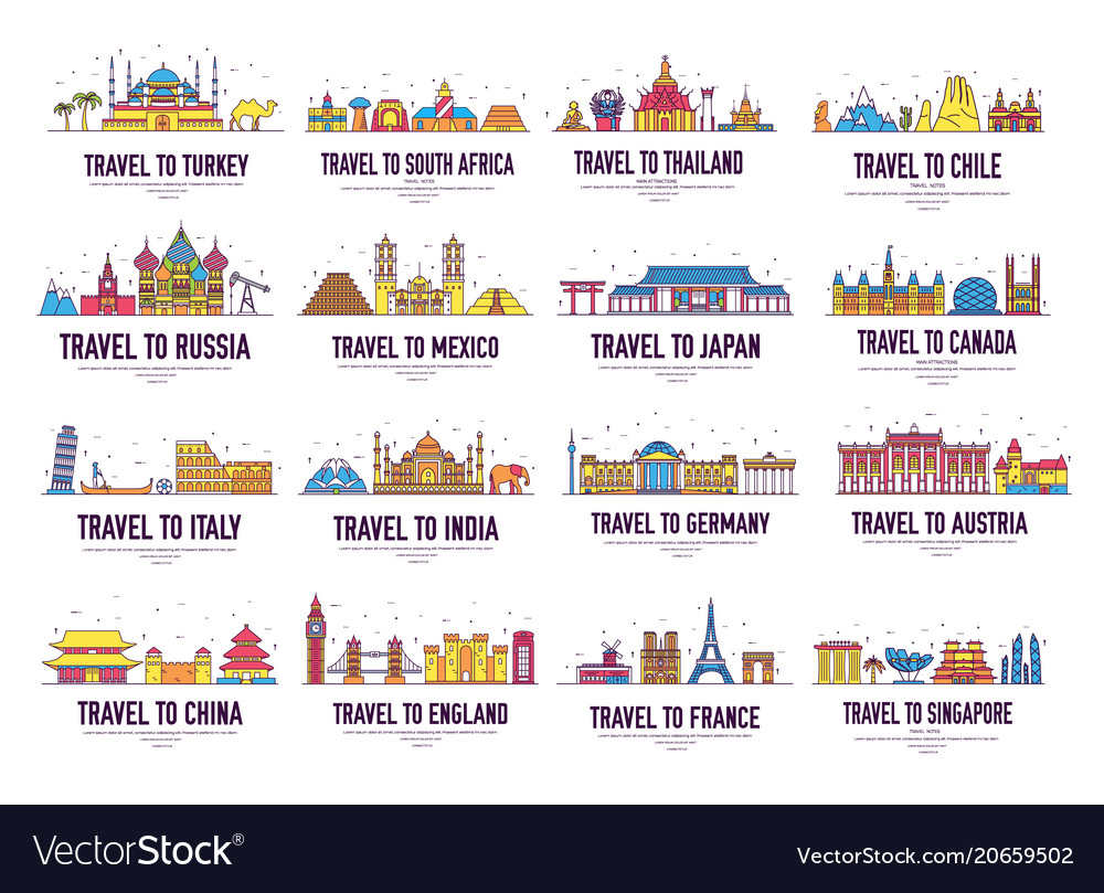 Country thin line icons travel vacation guide