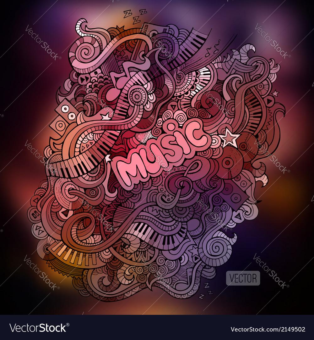 Doodles musical art paint background vector image