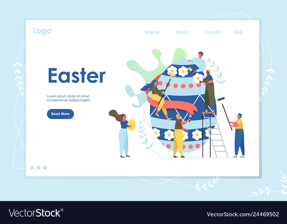 Easter landing page web site template with cartoon