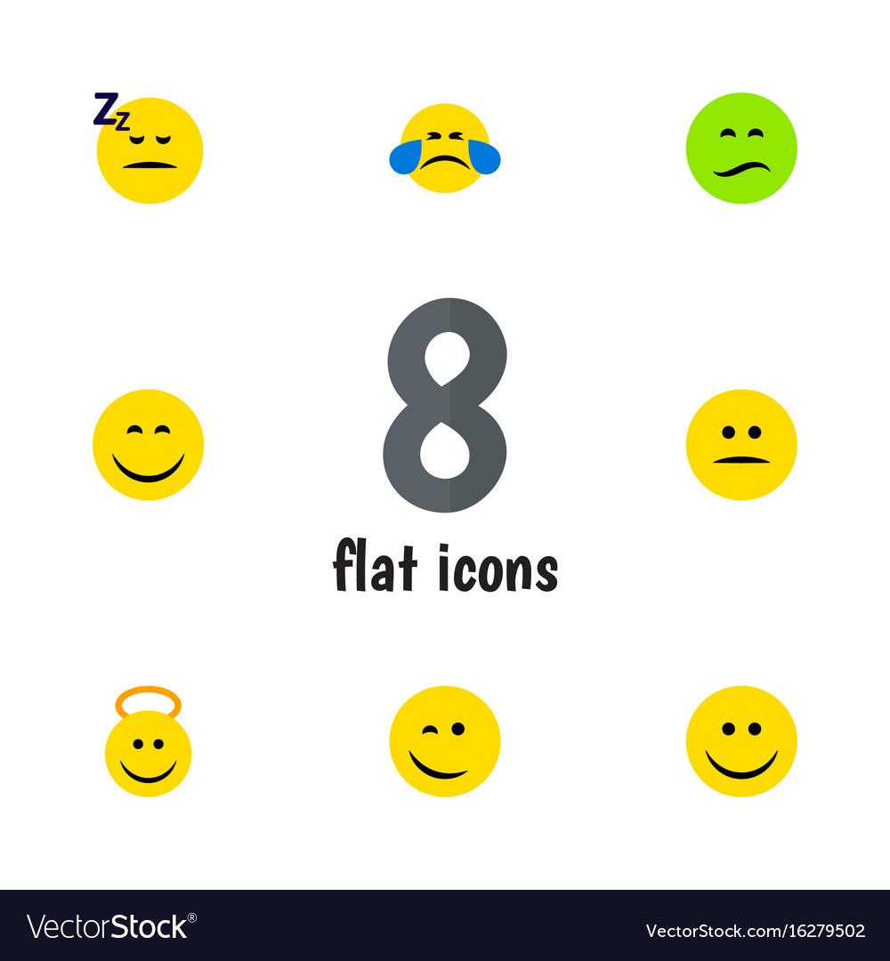 Flat icon emoji set of angel asleep frown and