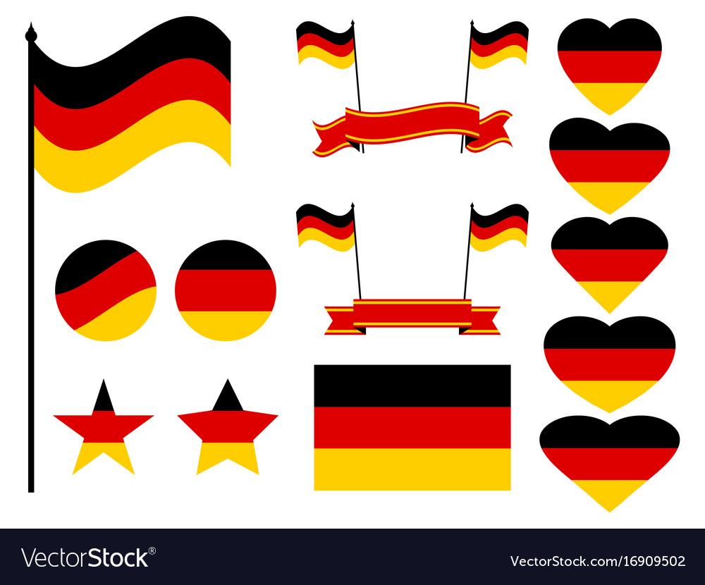 Germany flag set collection of symbols flag