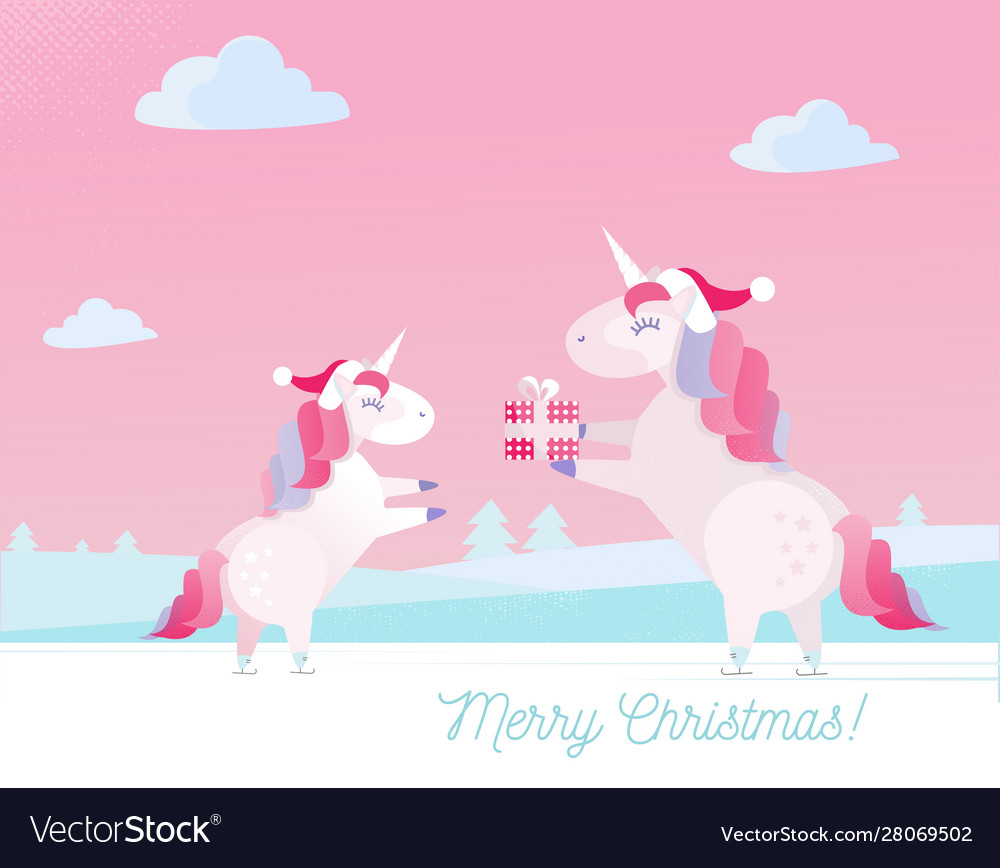 Greeting Card With Text Merry Christmas Unicorn In