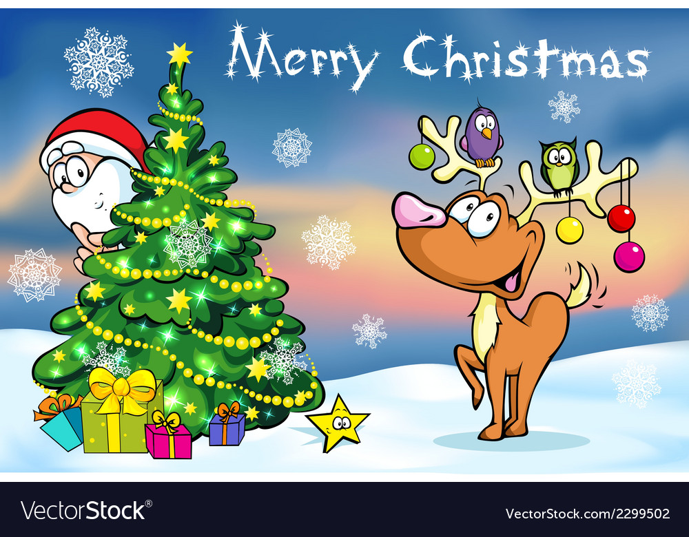 Merry Christmas greeting card santa claus hidden