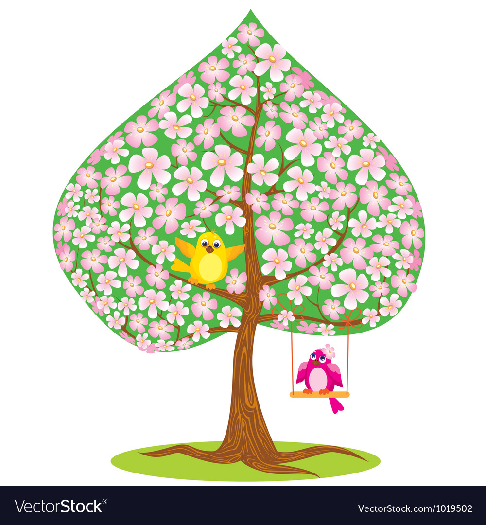 One of Four seasons - spring - tree and funny bird