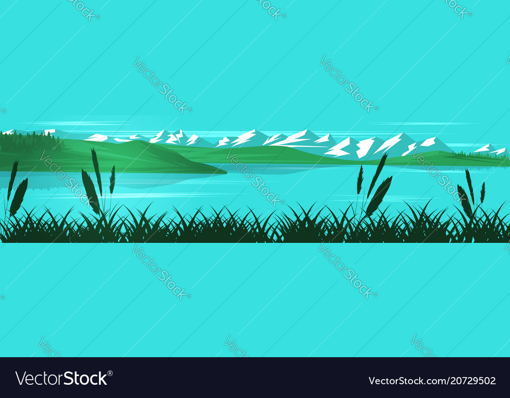 Panoramic landscape with mountains hills