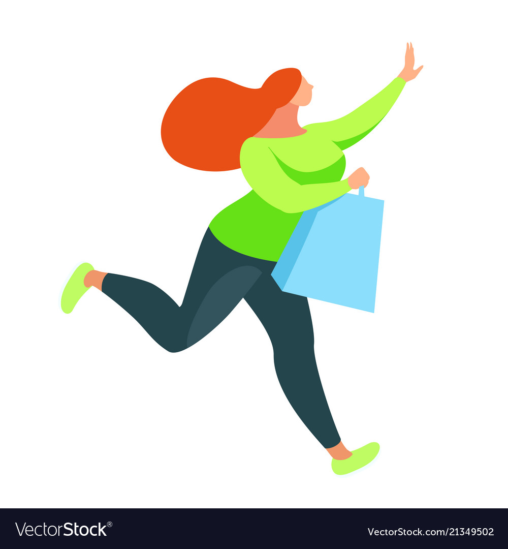 Shopping buyer runs with bags in hands