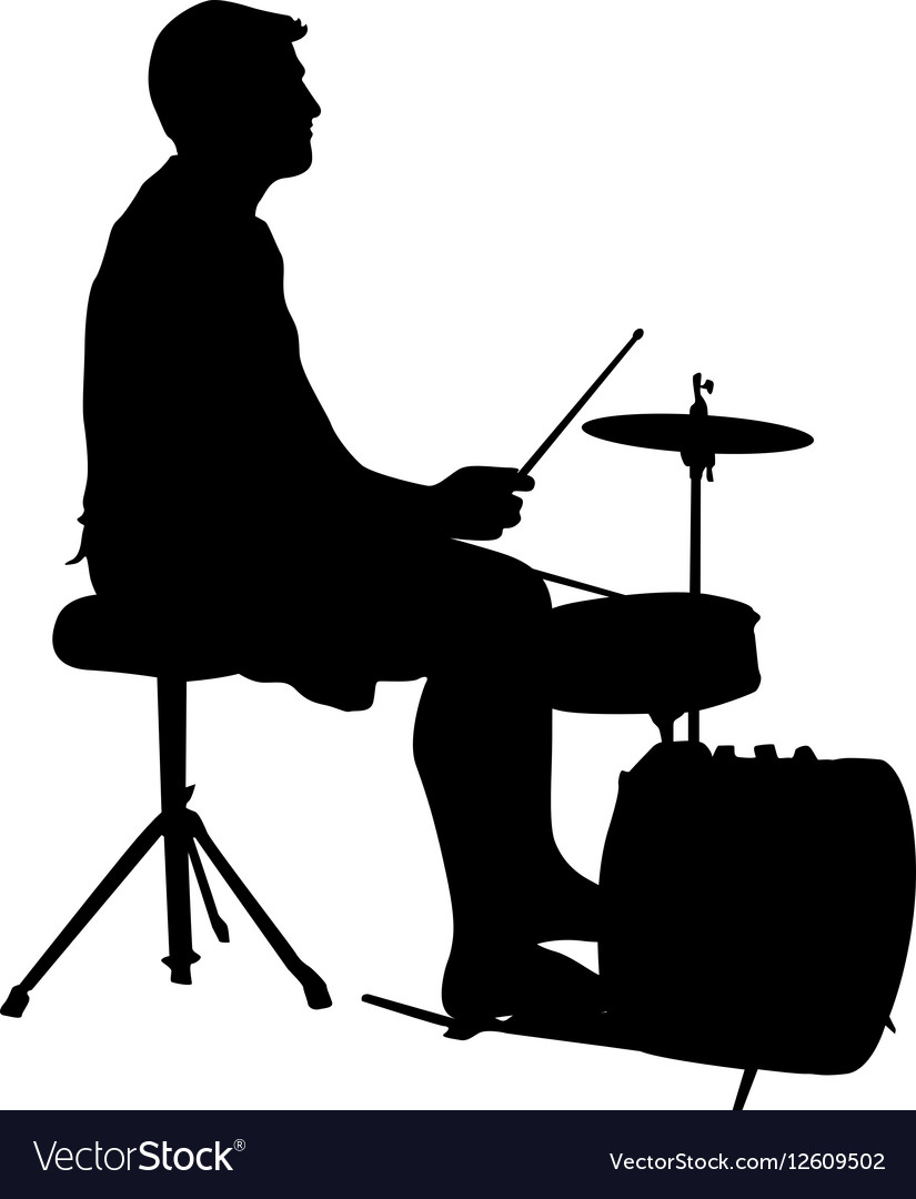 Silhouette musician drummer on white background