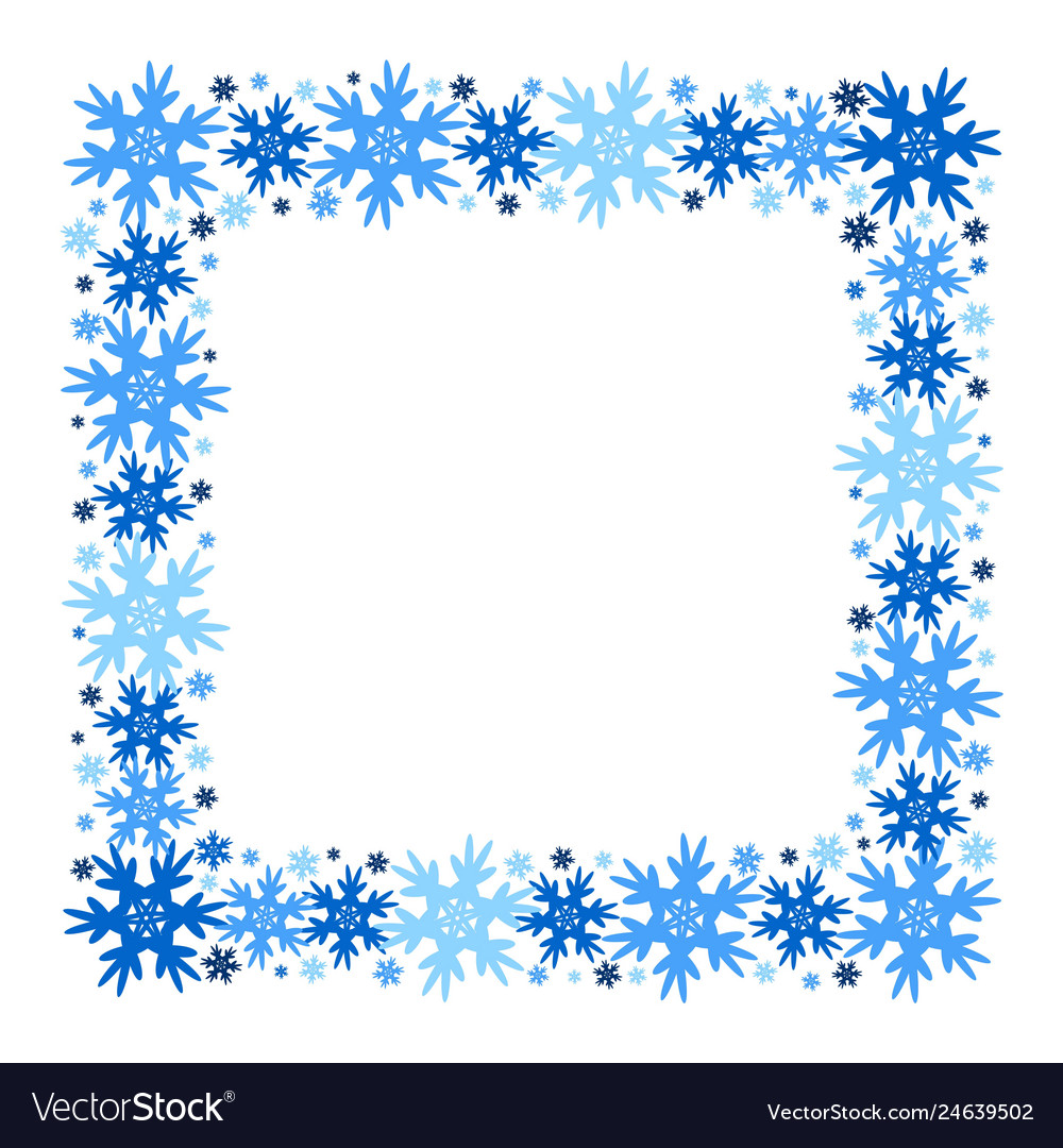 Square winter frame of snowflakes isolated