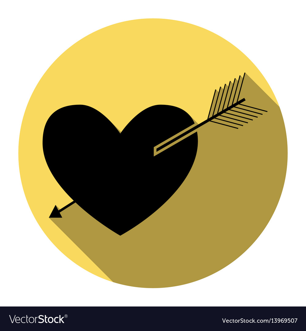 Arrow heart sign flat black icon with