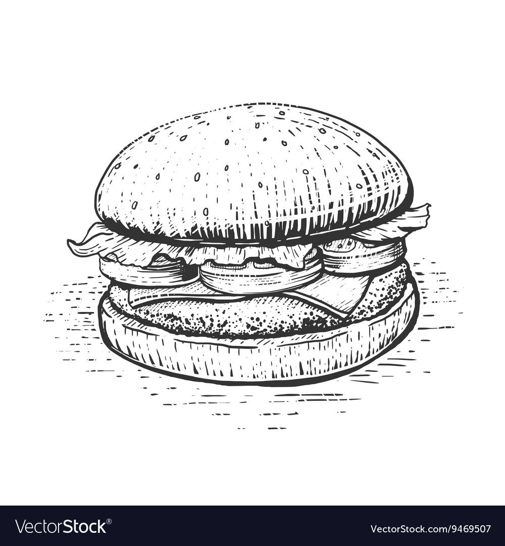 Burger engraving style vector image