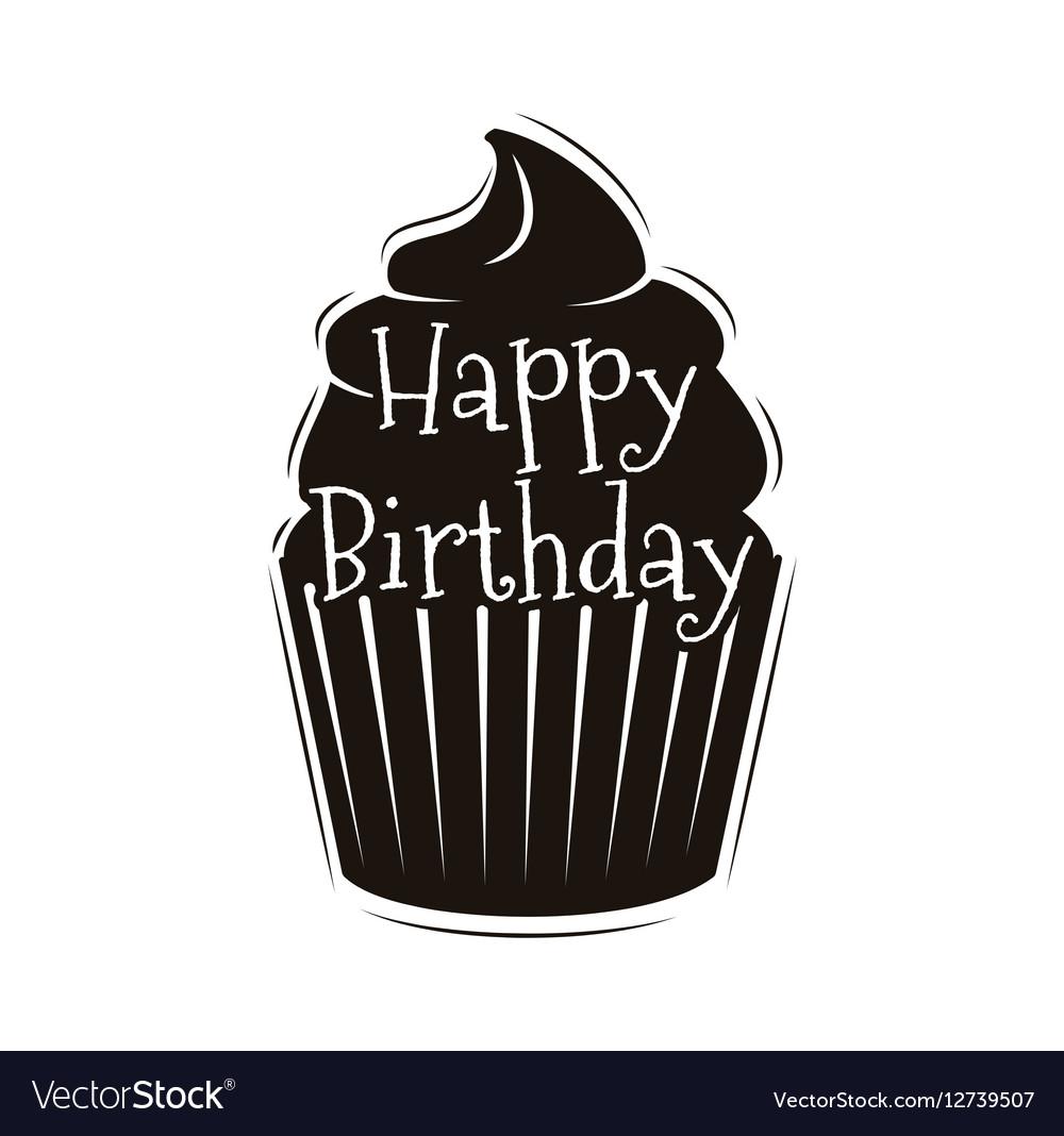 Chocolate cupcake happy happy birthday design