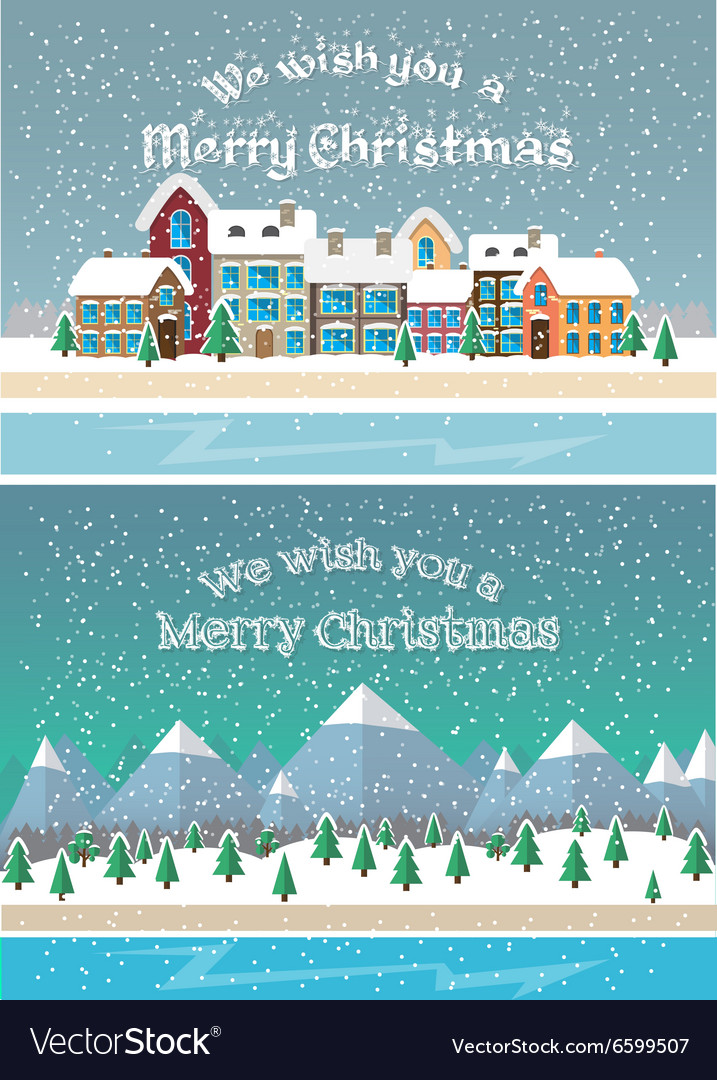 Christmas holiday season Small town in snowfall