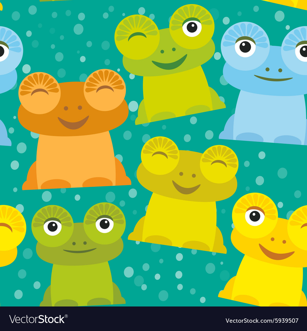 Cute Cartoon funny frog set yellow green blue