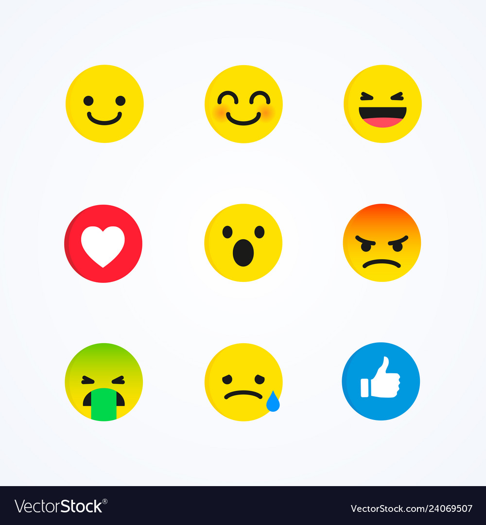 Flat design style social media reactions emoticon