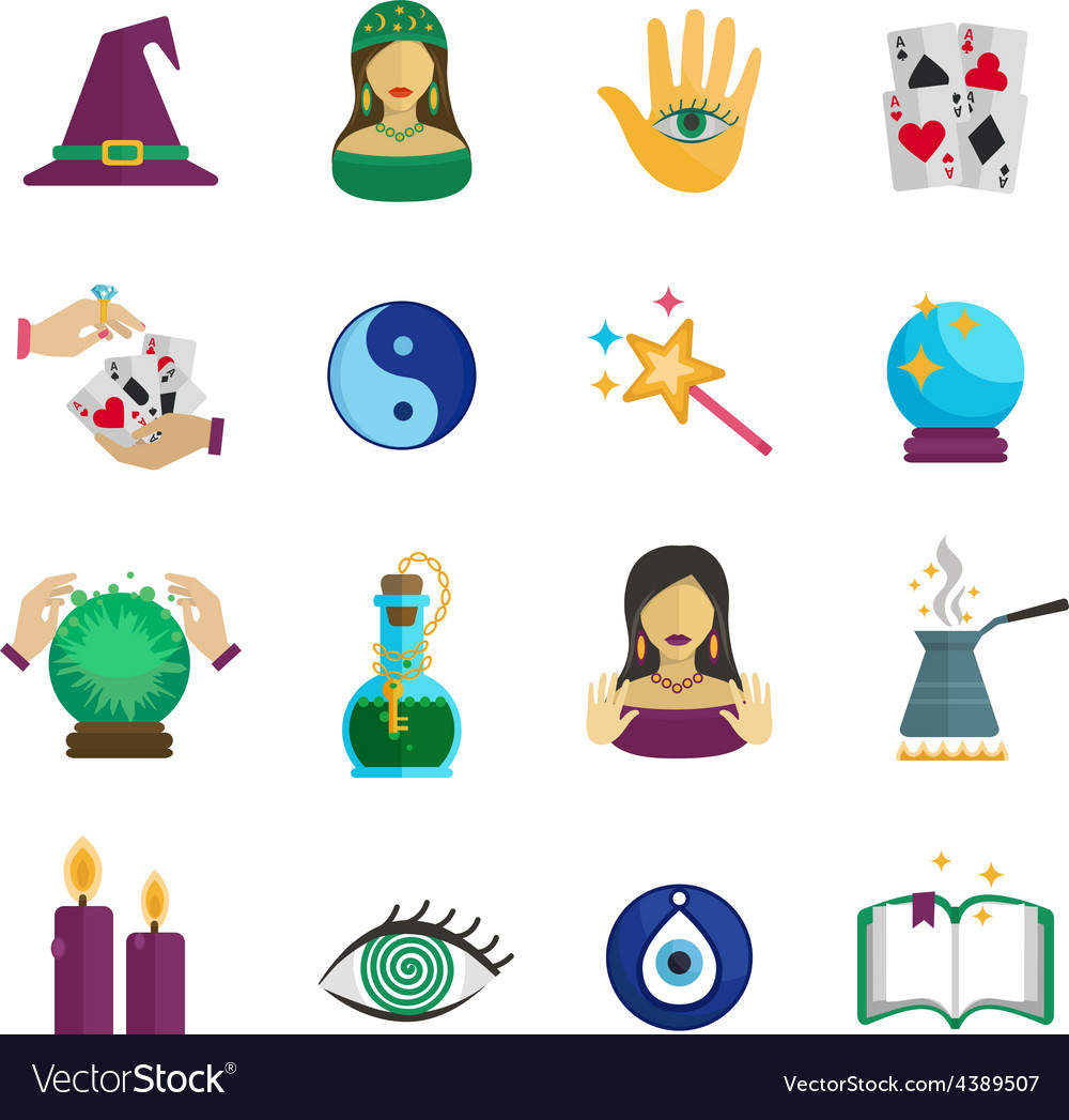 Fortune Teller Icon Flat Royalty Free Vector Image