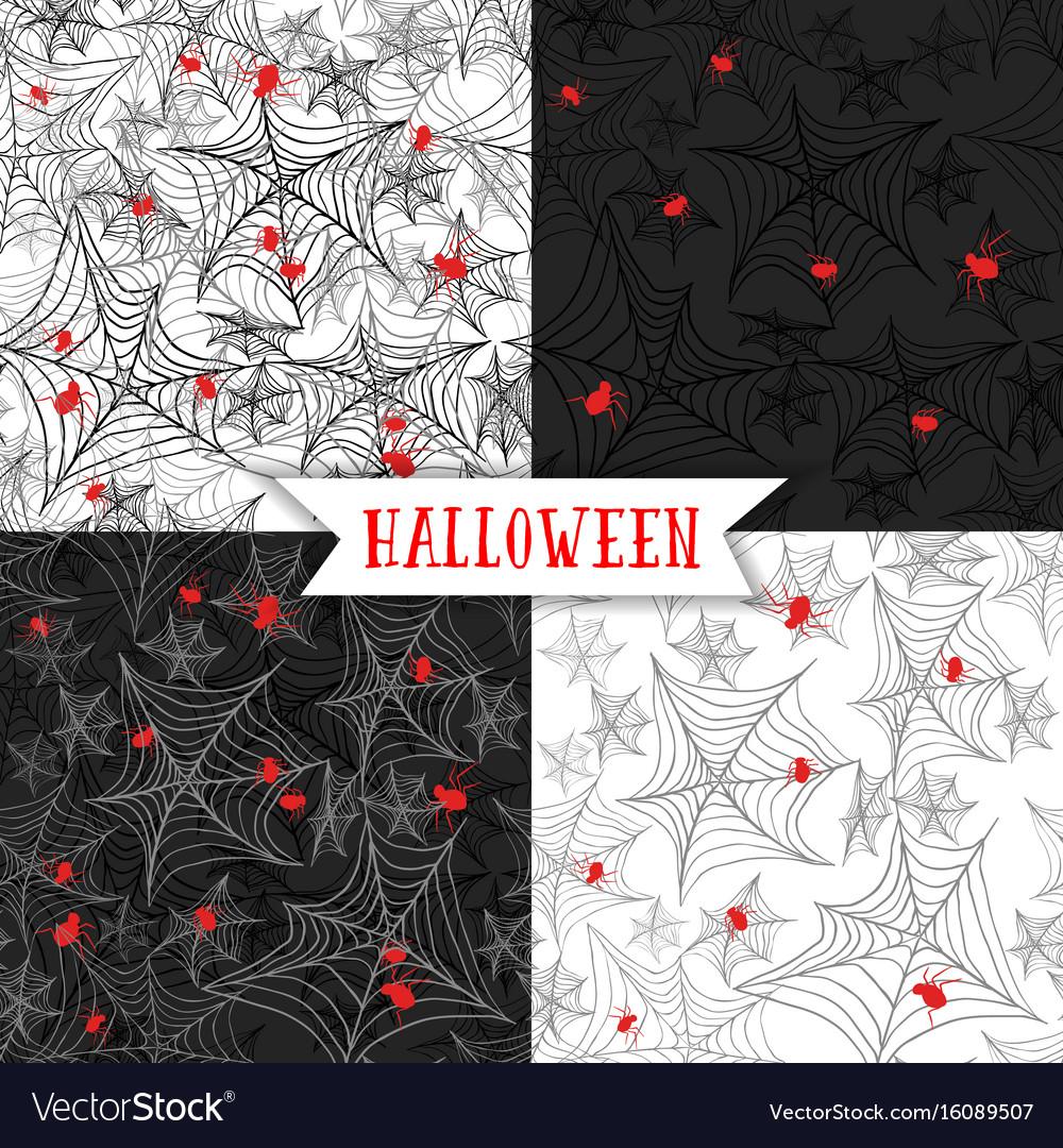 Halloween background seamless pattern with spider