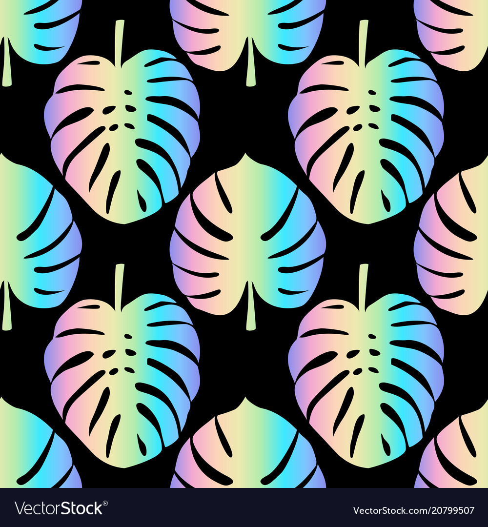 Holographic monstera leaves seamless pattern