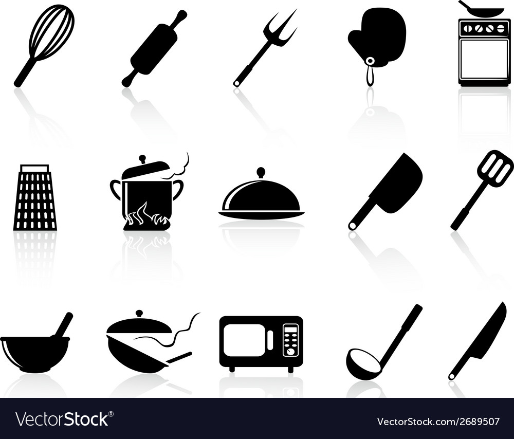 Kitchen utensil icons set vector image