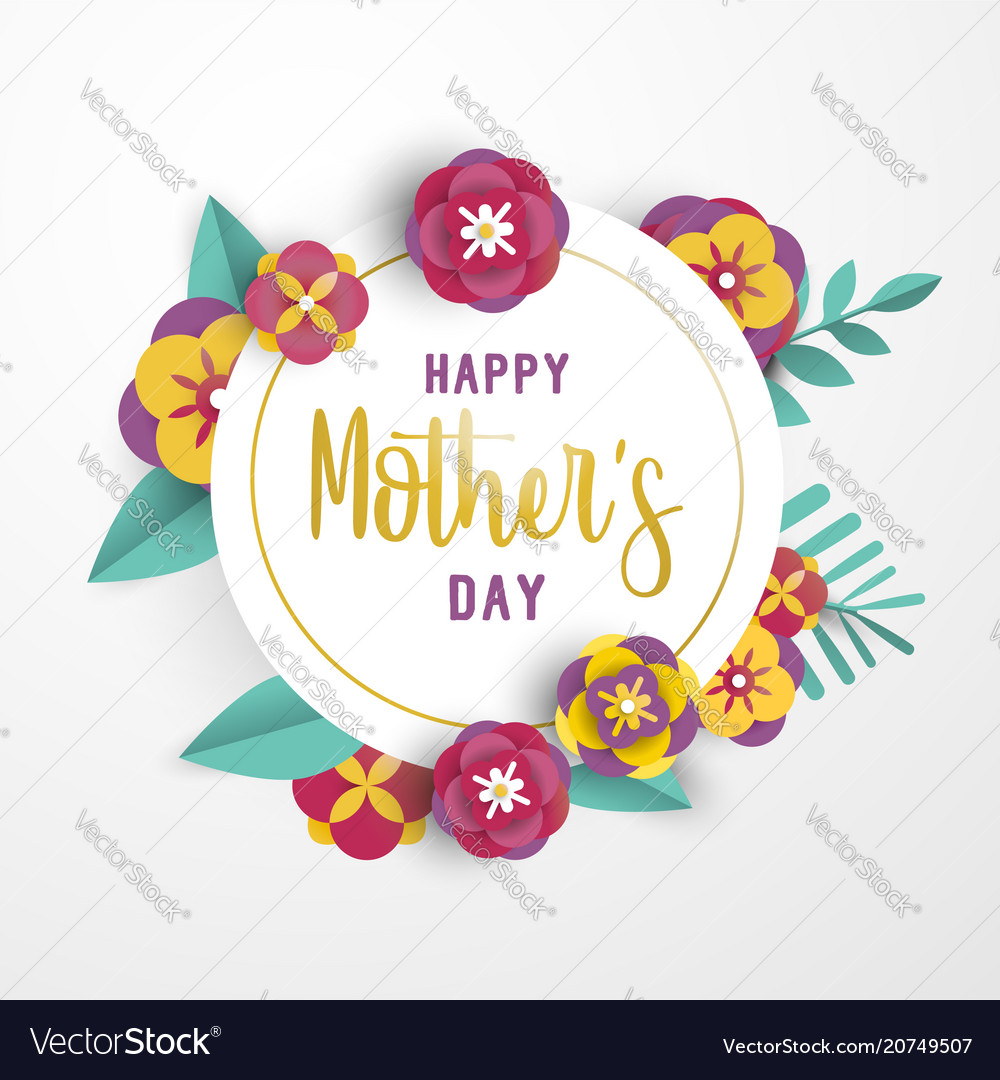 mother day 3d paper flower greeting card template vector image