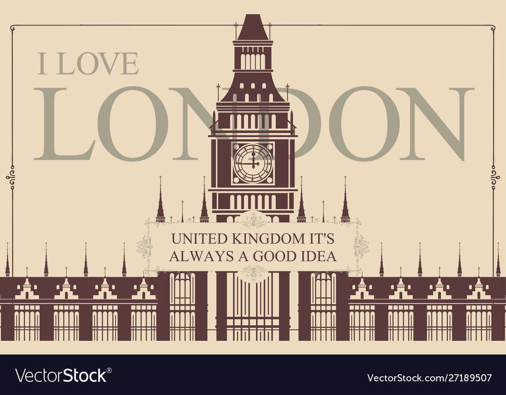 Postcard or banner with words i love london
