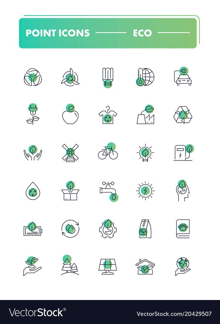 Set of 30 line icons eco