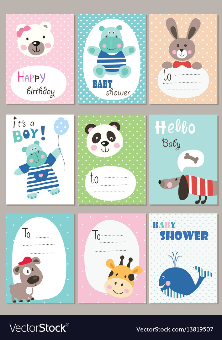 Set of baby shower cards with cute animals