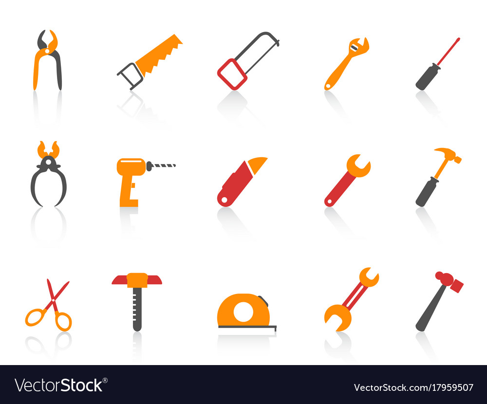 Simple orange color hand tool icons set