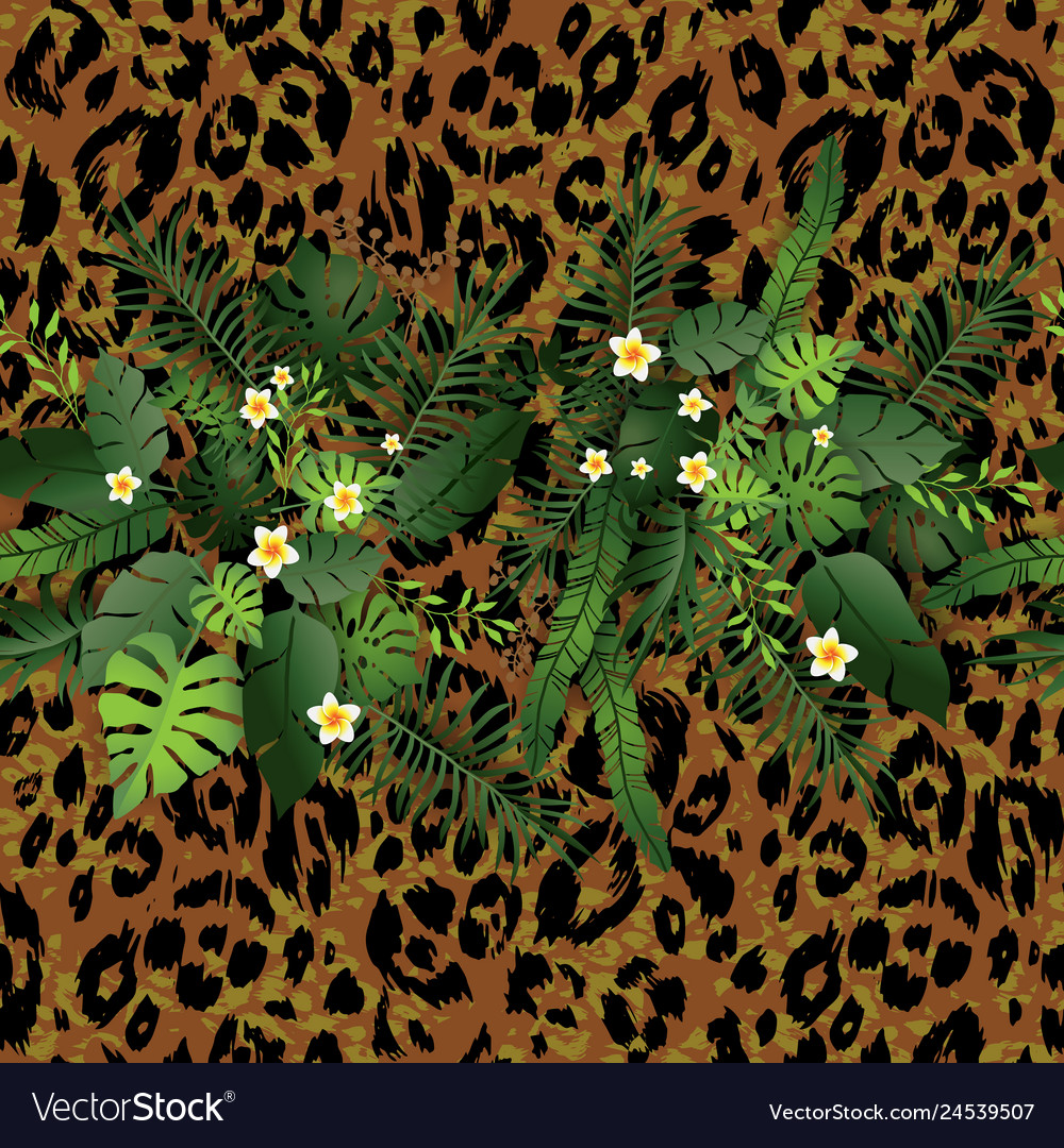 Tropical flowers and leopard