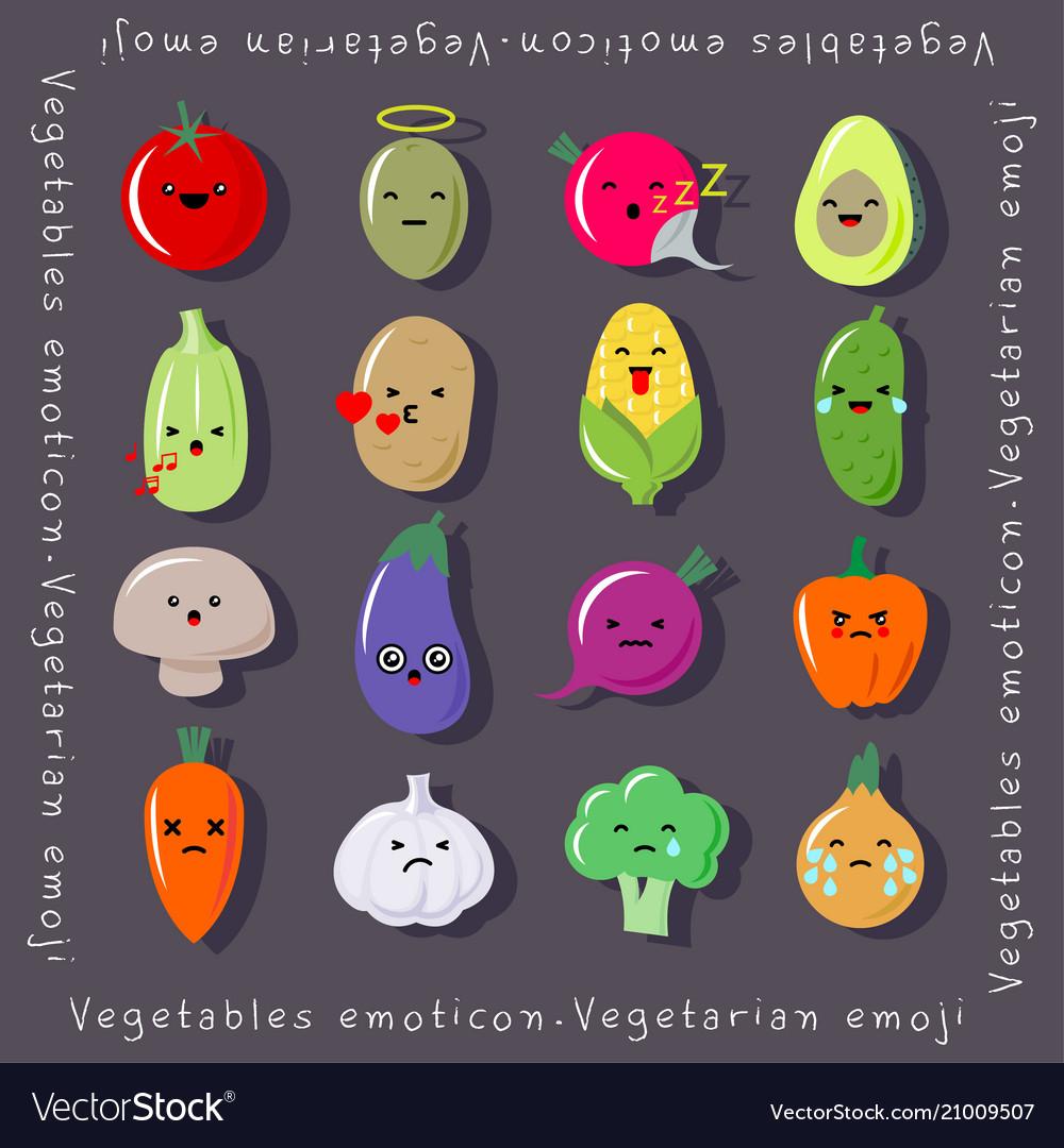 Vegetables kawaii emoji cute emoticons japanese