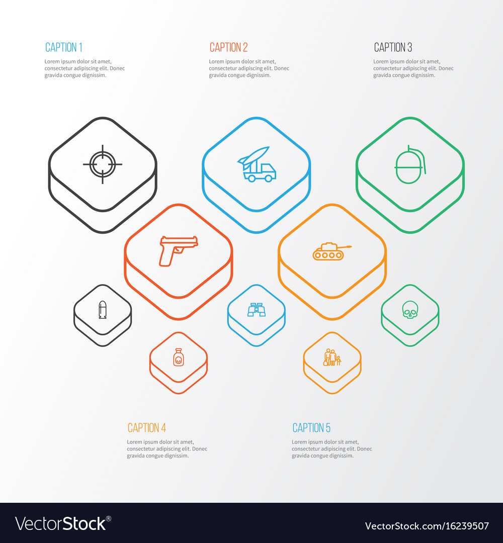 Warfare outline icons set collection of target