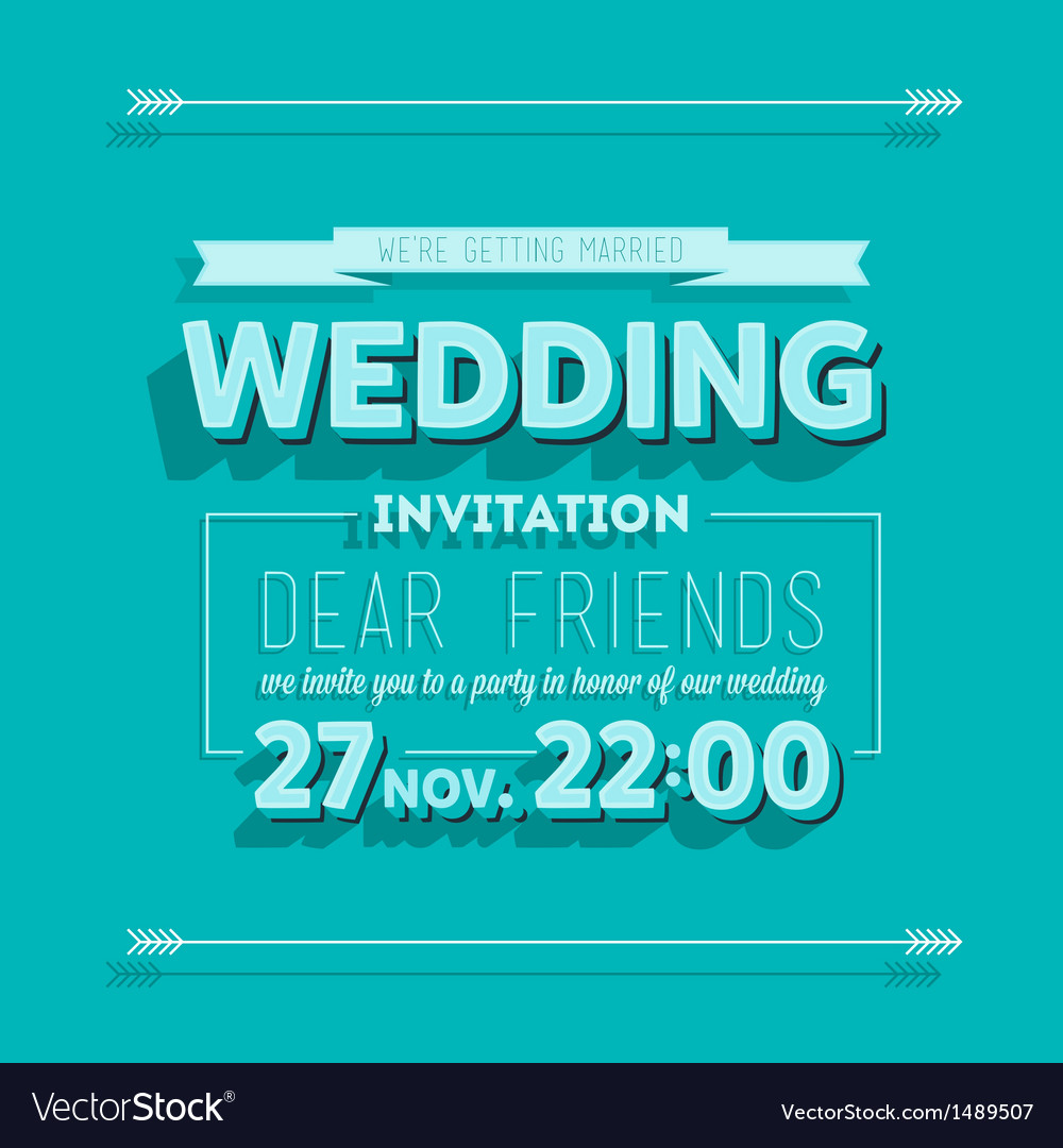 Wedding invitation blue typography Royalty Free Vector Image