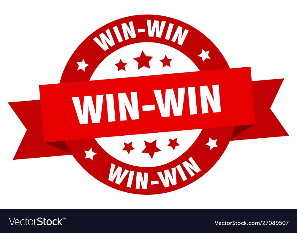 Win-win ribbon win-win round red sign win-win